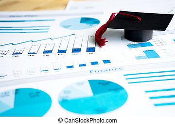 bevordering sluit af, op, blauwe , grafieken, en, diagrammen, bedrukt