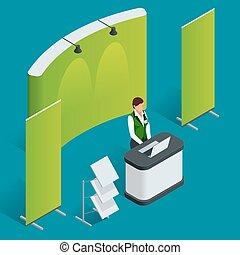 bevordering, toonbank, set., handel, stand., leeg, vector, poster., plat, 3d, vector, isometric, illustration.
