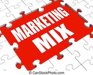 bevorderingen, markt, het tonen, marketing, prijs, product, malen, vermalen, plek, raadsel