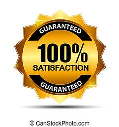 bevrediging, 100%, vector, guaranteed, etiket