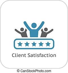 bevrediging, plat, icon., klant, design.