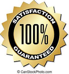 bevrediging, vector, guaranteed, etiket
