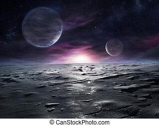 bevroren, afgelegen, planeet