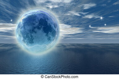 bevroren, maan, op, de, oceaan, -digital, het kunstwerk