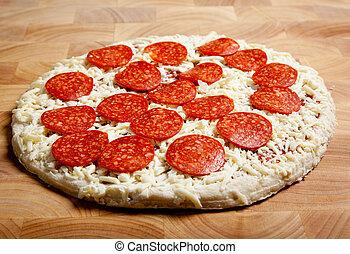 bevroren pizza, scherpe raad, pepperoni
