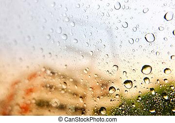 bewässern fallen, auf, auto, glas, in, a, regnerisch, day.