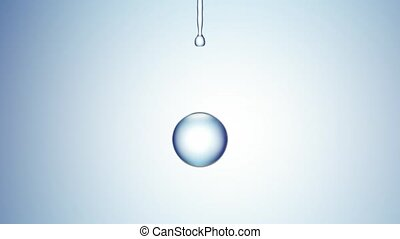 bewässern fallen, auf, blaues, hintergrund., 4k