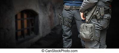 bewaffnet, polizisten
