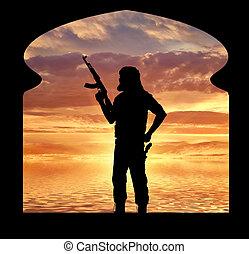 bewaffnet, terrorist, in, der, räumlichkeiten, von, der, moschee