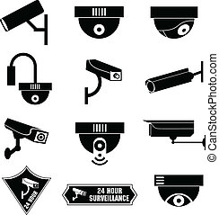 bewaking, video, cctv, pictogram