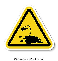 Beware Chemical Spill Symbol Sign Isolate On White ...