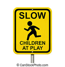 Beware Children are present - An American road warning sign...