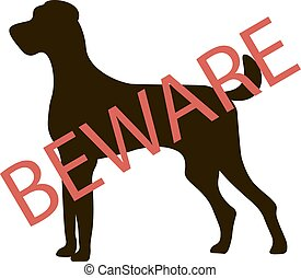Beware Dogs Signs. Vector Illustration