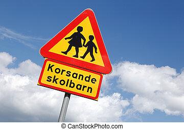 Beware of children - Swedish road sign, warning for children...