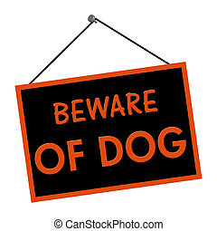 A orange and black sign with the words Beware of Dog isolated on a white background