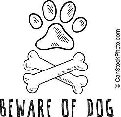 Doodle style beware of dog sketch in vector format