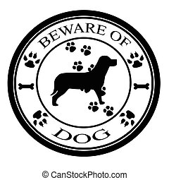 Stamp with text beware of dog inside, vector illustration