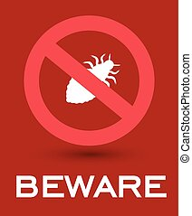 Beware of Lice Insects Symbol Vector Illustration