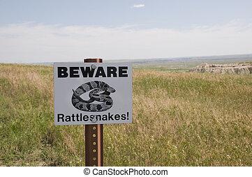 Beware of Rattlesnake Sign