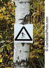 Beware of Skiers - A sign saying to be aware of skiers in...