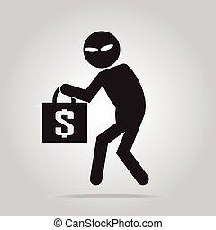 Beware pickpocket sign, thief icon illustration - Beware...