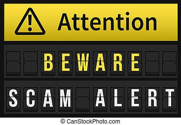 Beware Scam Alert message on Split flap mechanical airport...