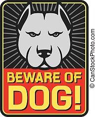 beware van hond ondertekenen, (label)