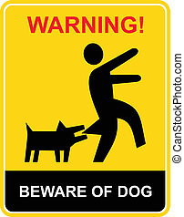 beware, waarschuwend, -, dog