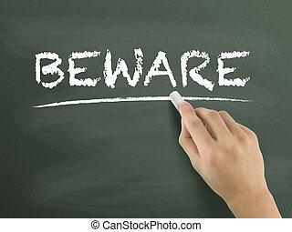 beware word written by hand