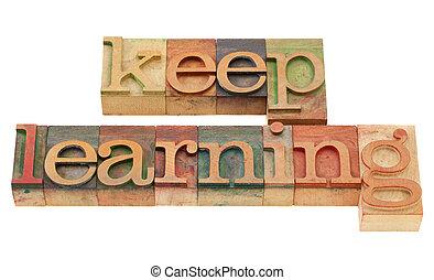 bewaren, leren, in, letterpress, type
