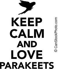 bewaren, liefde, parakeets, kalm