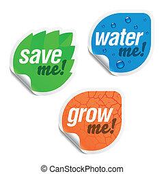 bewaren me, water, mij, groeien, mij, stickers