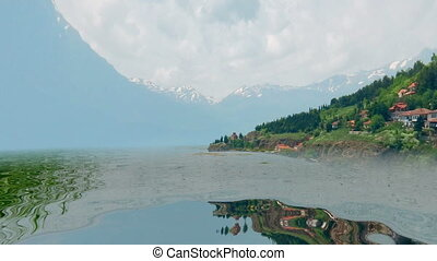 bewateer weerspiegeling, van, kleurrijke, berg panorama