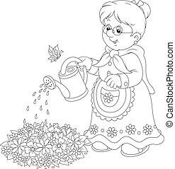 bewaterende bloemen, oma