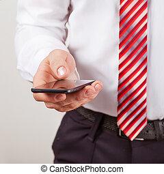 beweeglijk, aanraakscherm, telefoon, hand