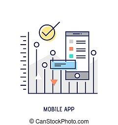 beweeglijk,  App,  Vector, mager, lijn, pictogram,  diabetes