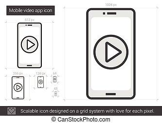 beweeglijk,  App,  video, lijn, pictogram