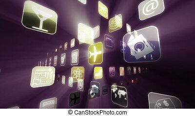 beweeglijk, apps, schijnwerper