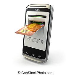 beweeglijk, banking., mobiele telefoon, als, pinautomaat,...