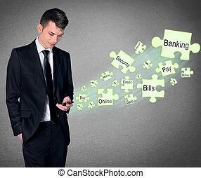 beweeglijk, bankwezen, concept