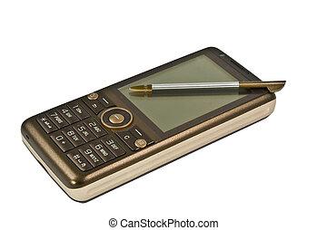 beweeglijk, bruine , schrijfstift, telefoon