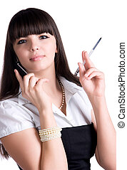 beweeglijk, businesswoman, pen, telefoon