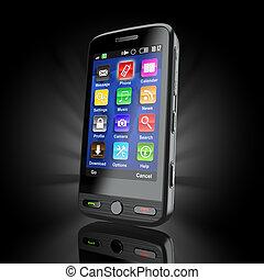 beweeglijk, cellphone., telefoon., 3d