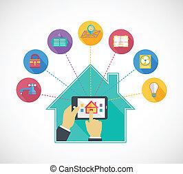 beweeglijk, controles, hand, telefoon, vasthouden, thuis, ...