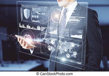 beweeglijk, gadget, concept, financiën