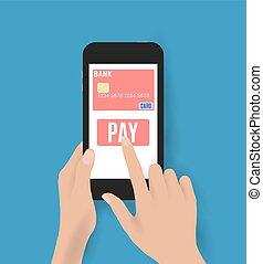 beweeglijk, holing, smartphone, bankwezen, hand