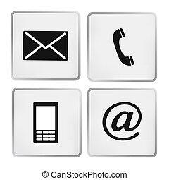 beweeglijk, iconen, enveloppe, buttonsset, -, contact, telefoon, post