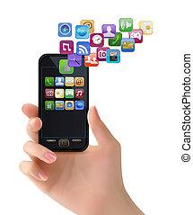 beweeglijk, icons., hand, telefoon, vector, vasthouden