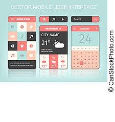 beweeglijk, interface, vector, elements.