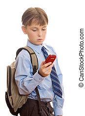 beweeglijk, jongen, gebruik, telefoon
